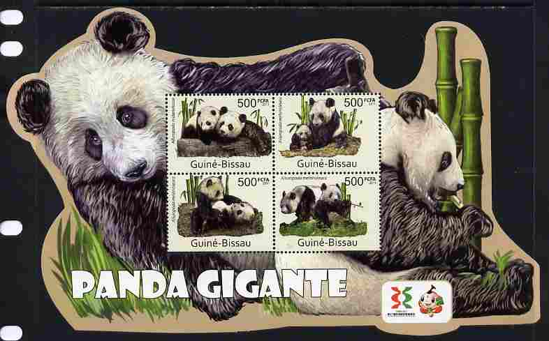 Guinea - Bissau 2011 Giant Pandas special shaped perf sheetlet containing 4 values unmounted mint