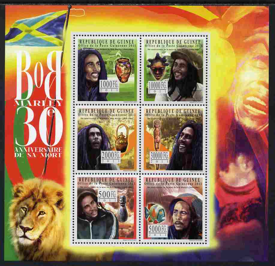 Guinea - Conakry 2011 30th Death Anniversary of Bob Marley perf sheetlet containing 6 values unmounted mint