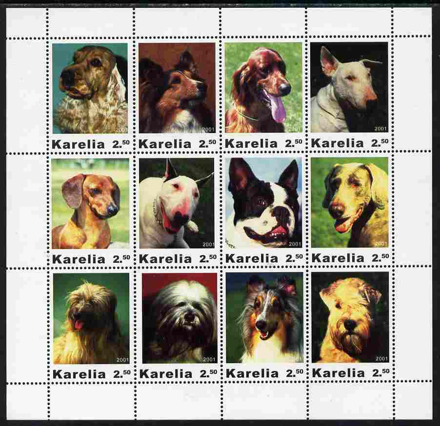 Karelia Republic 2001 Dogs #2 perf sheetlet containing complete set of 12 values unmounted mint