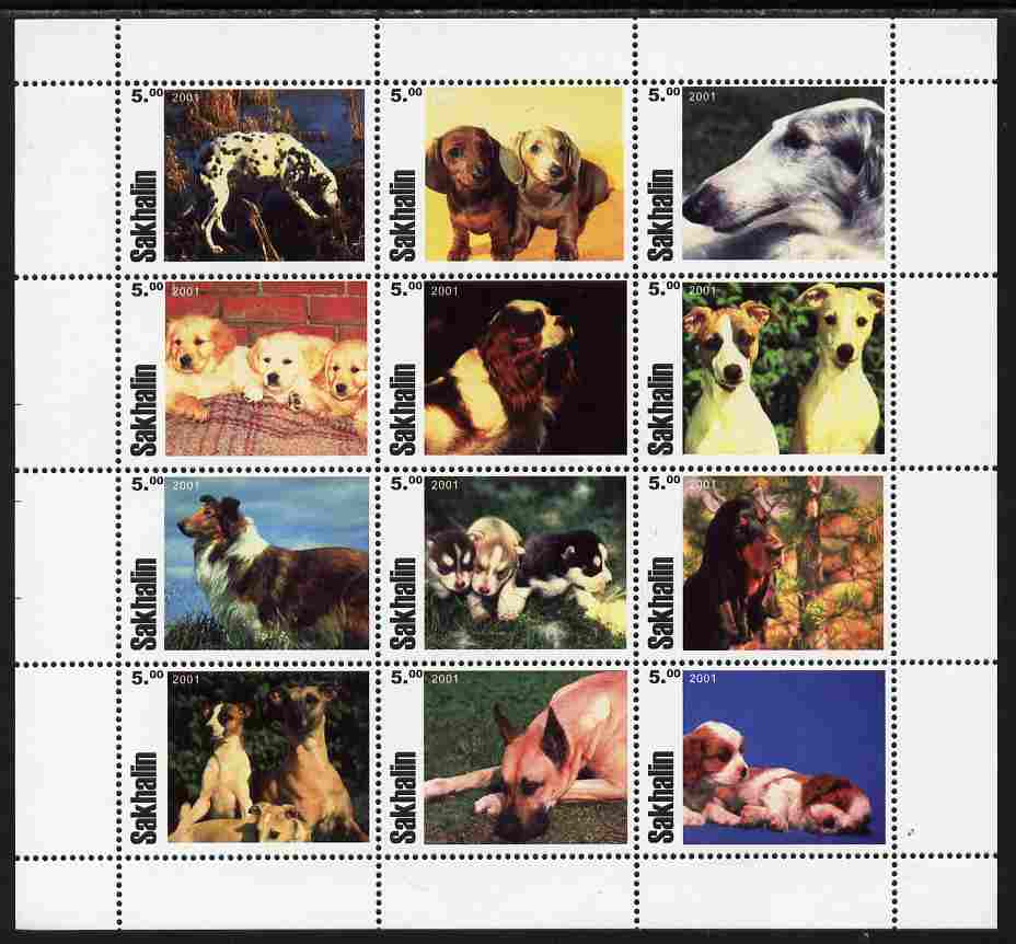 Sakhalin Isle 2001 Dogs perf sheetlet containing complete set of 12 values unmounted mint