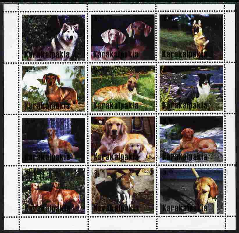 Karakalpakia Republic 2001 Dogs perf sheetlet containing complete set of 12 values unmounted mint