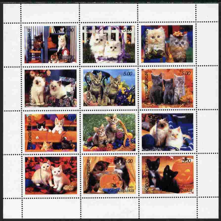 Karakalpakia Republic 2000 Domestic Cats perf sheetlet containing complete set of 12 values unmounted mint