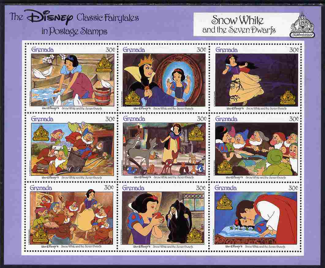 Grenada 1987 50th Anniversary of Disney Cartoons - Snow White perf sheetlet #1 containing 9 x 30c values unmounted mint as SG MS 1707f