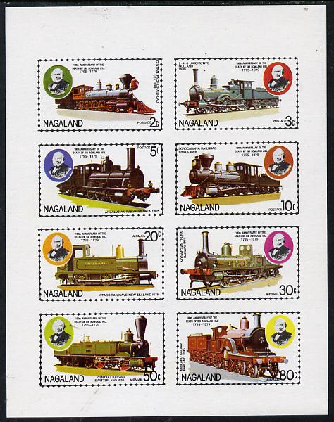 Nagaland 1979 Rowland Hill (Locomotives) imperf  set of 8 values (2c to 80c) unmounted mint