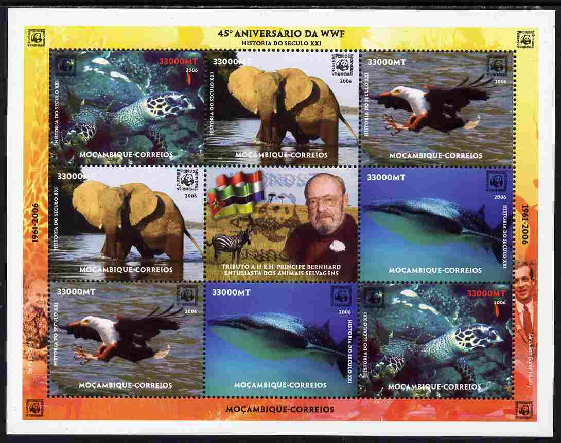 Mozambique 2006 WWF 45th Anniversary perf sheetlet containing 8 values (2 sets of 4) plus label unmounted mint