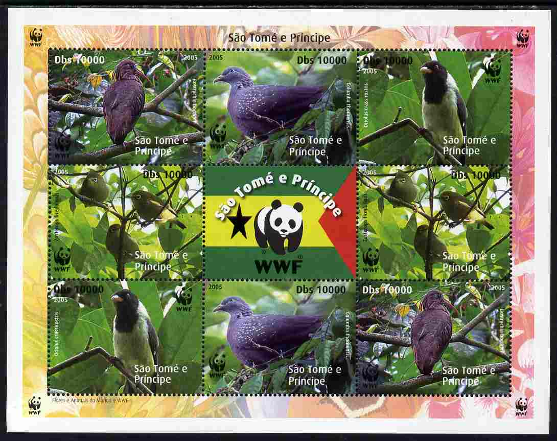 St Thomas & Prince Islands 2005 WWF - Local Bird Species perf sheetlet containing 2 sets of 4 plus label unmounted mint