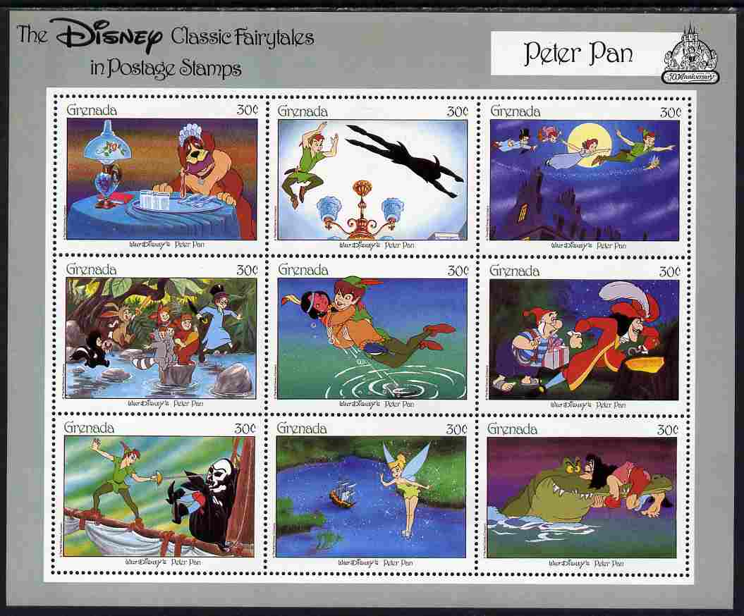 Grenada 1987 50th Anniversary of Disney Cartoons - Peter Pan perf sheetlet #1 containing 9 x 30c values unmounted mint as SG MS 1707c