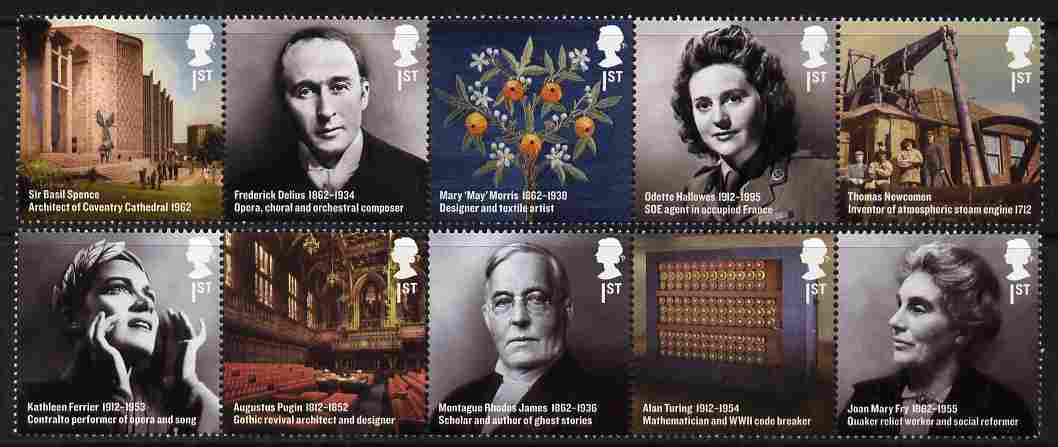Great Britain 2012 Britons of Distinction set of 10 (two se-tenant strips of 5) unmounted mint