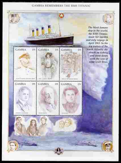 Gambia 1998 RMS Titanic Commemoration perf sheetlet containing set of 6 values unmounted mint SG 2921-26
