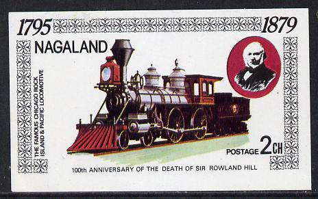 Nagaland 1979 Rowland Hill (Chicago Rock Island & Pacific Loco) imperf souvenir sheet (2ch value) unmounted mint
