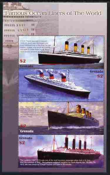 Grenada 1998 Famous Ocean Liners perf sheetlet containing set of 4 values unmounted mint