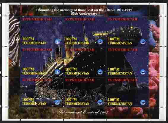 Turkmenistan 1997 85th Anniversary of Sinking of RMS Titanic perf composite sheetlet containing 9 values unmounted mint. Note this item is privately produced and is offered purely on its thematic appeal, it has no postal validity