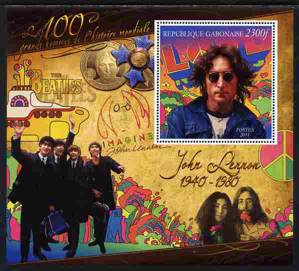 Gabon 2010-12 Greatest Personalities in World History - John Lennon large perf s/sheet unmounted mint, stamps on personalities, stamps on beatles, stamps on music, stamps on rock, stamps on pops, stamps on submarines