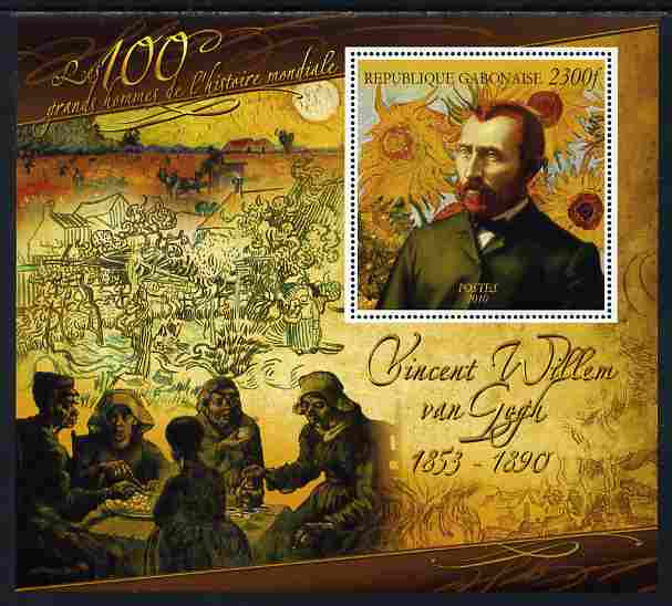 Gabon 2010-12 Greatest Personalities in World History - Vincent Van Gogh large perf s/sheet unmounted mint