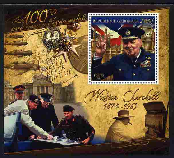 Gabon 2010-12 Greatest Personalities in World History - Winston Churchill large perf s/sheet unmounted mint