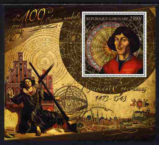 Gabon 2010-12 Greatest Personalities in World History - Nicolaus Copernicus large perf s/sheet unmounted mint
