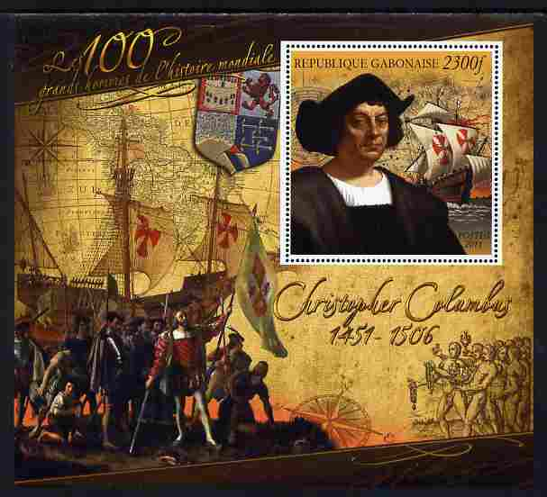 Gabon 2010-12 Greatest Personalities in World History - Christopher Columbus large perf s/sheet unmounted mint