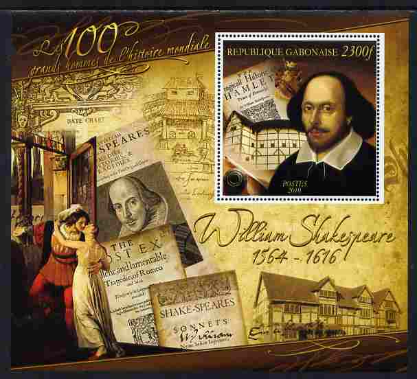 Gabon 2010-12 Greatest Personalities in World History - William Shakespeare large perf s/sheet unmounted mint