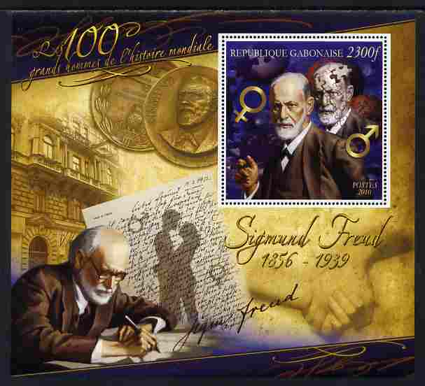 Gabon 2010-12 Greatest Personalities in World History - Sigmund Freud large perf s/sheet unmounted mint