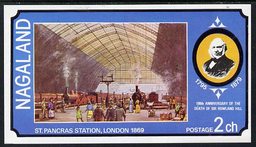 Nagaland 1979 Rowland Hill (St Pancras Station) imperf souvenir sheet (2ch value) unmounted mint