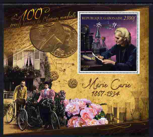 Gabon 2010-12 Greatest Personalities in World History - Marie Curie large perf s/sheet unmounted mint