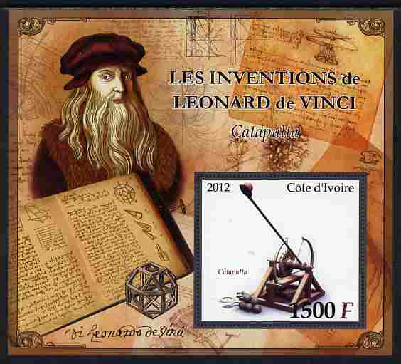 Ivory Coast 2012 Inventions of Leonardo da Vinci #1 Catapult large perf s/sheet unmounted mint