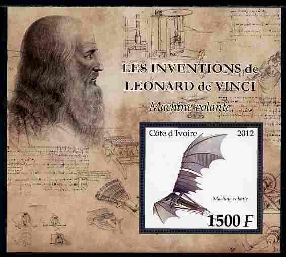Ivory Coast 2012 Inventions of Leonardo da Vinci #2 Flying Machine large perf s/sheet unmounted mint