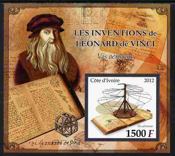 Ivory Coast 2012 Inventions of Leonardo da Vinci #5 Air Screw large perf s/sheet unmounted mint