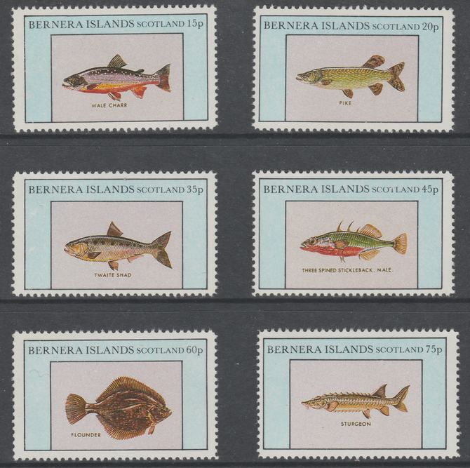 Bernera 1982 Fish (Char, Pike, Sturgeon, Flounder etc) perf set of 6 values (15p to 75p) unmounted mint