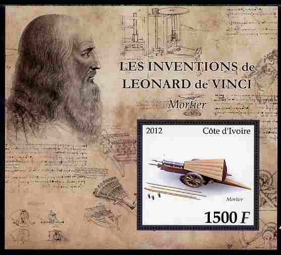 Ivory Coast 2012 Inventions of Leonardo da Vinci #8 Mortar large perf s/sheet unmounted mint