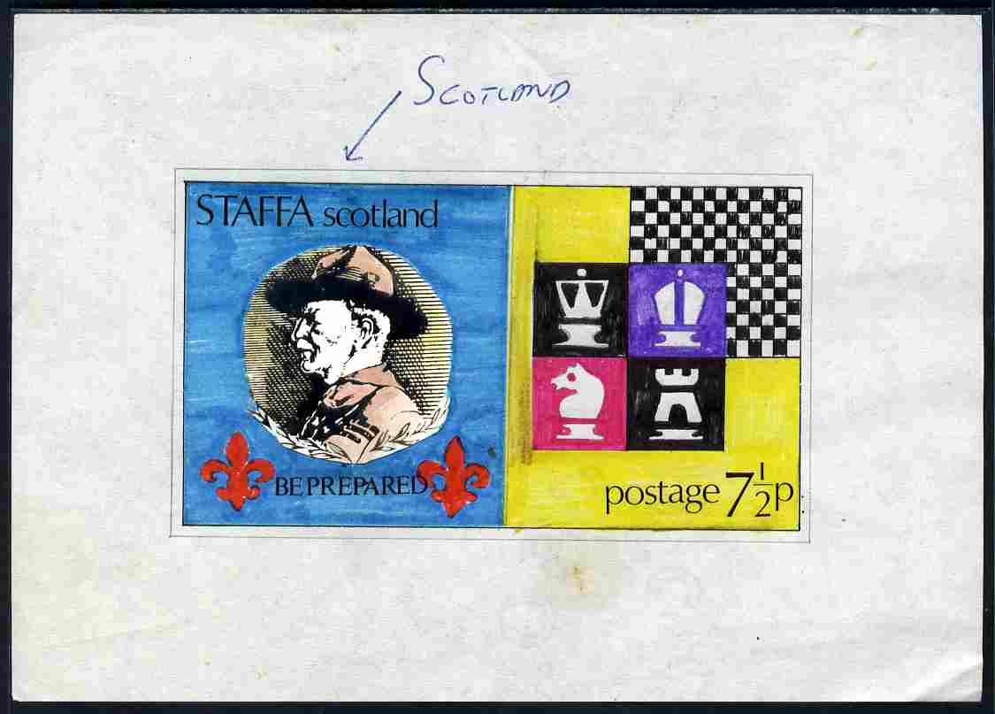 Staffa 1978 Scouts & Chess - original hand-painted artwork for unaccepted 7.5p values on paper, image size 123 x 70 mm complete with issued sheetlet showing similar desig...
