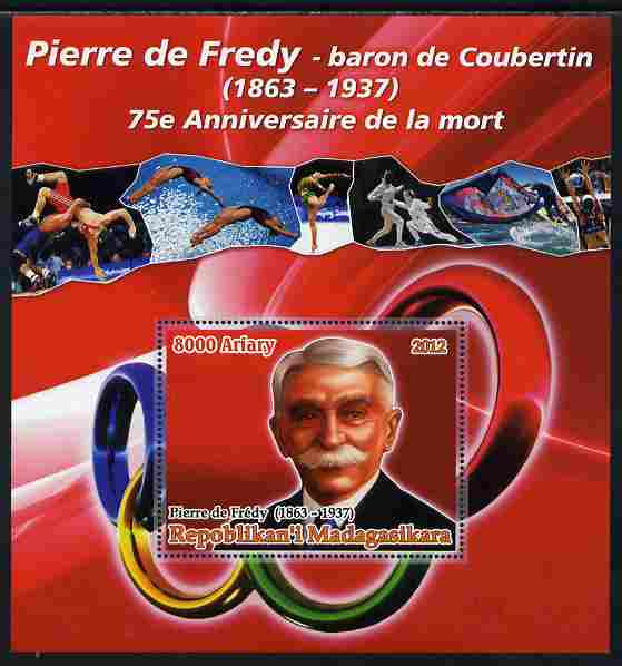 Madagascar 2012 75th Death Anniversary of Pierre de Coubertin large perf s/sheet unmounted mint