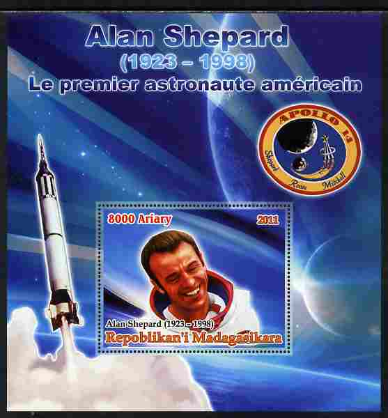 Madagascar 2012 50th Anniversary of First American in Space (Alan Shepard) large perf s/sheet unmounted mint