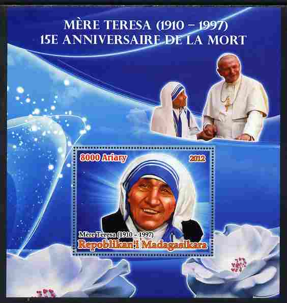 Madagascar 2012 15th Death Anniversary of Mother Teresa large perf s/sheet unmounted mint