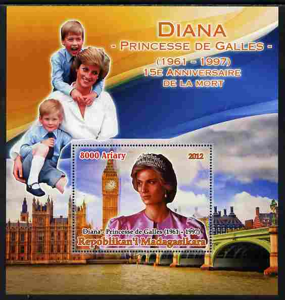 Madagascar 2012 15th Death Anniversary of Princess Diana large perf s/sheet unmounted mint
