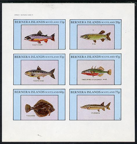Bernera 1982 Fish (Char, Pike, Sturgeon, Flounder etc) imperf set of 6 values (15p to 75p) unmounted mint