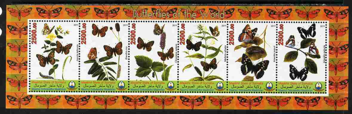 Maakhir State of Somalia 2011 Butterflies of the World #2 perf sheetlet containing 6 values unmounted mint. Note this item is privately produced and is offered purely on its thematic appeal