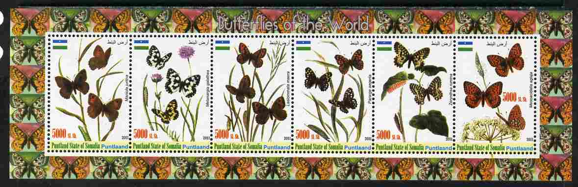Puntland State of Somalia 2011 Butterflies of the World #1 perf sheetlet containing 6 values unmounted mint