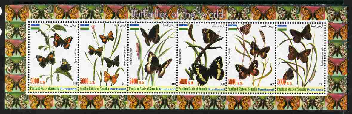 Puntland State of Somalia 2011 Butterflies of the World #2 perf sheetlet containing 6 values unmounted mint