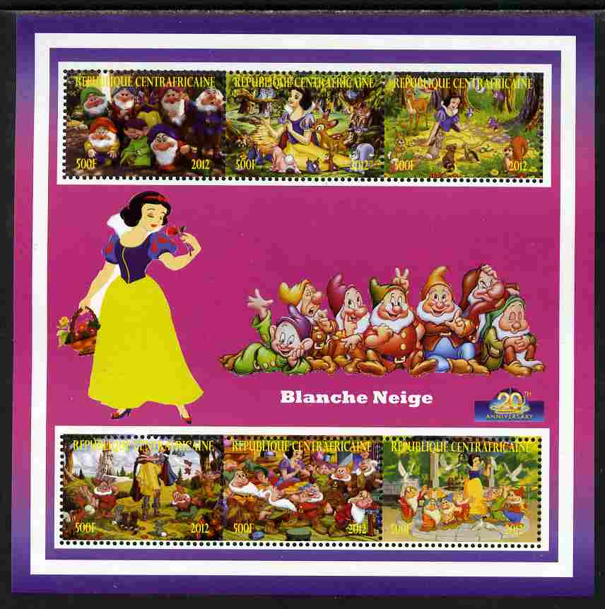 Central African Republic 2012 Snow White - 20th Anniversary of Disneyland Paris perf sheetlet containing 6 values unmounted mint. Note this item is privately produced and is offered purely on its thematic appeal