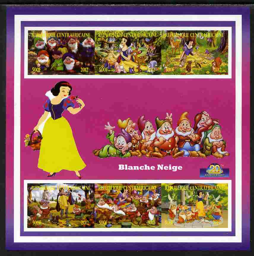 Central African Republic 2012 Snow White - 20th Anniversary of Disneyland Paris imperf sheetlet containing 6 values unmounted mint. Note this item is privately produced and is offered purely on its thematic appeal, it has no postal validity, stamps on disney