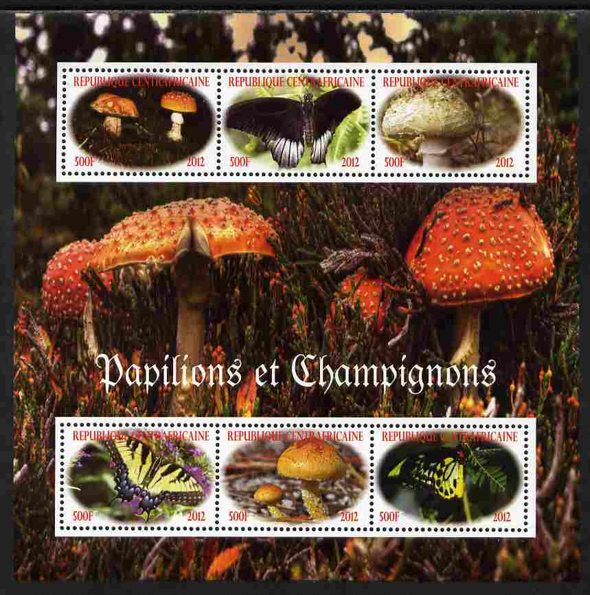 Central African Republic 2012 Mushrooms & Butterflies perf sheetlet containing 6 values unmounted mint. Note this item is privately produced and is offered purely on its thematic appeal