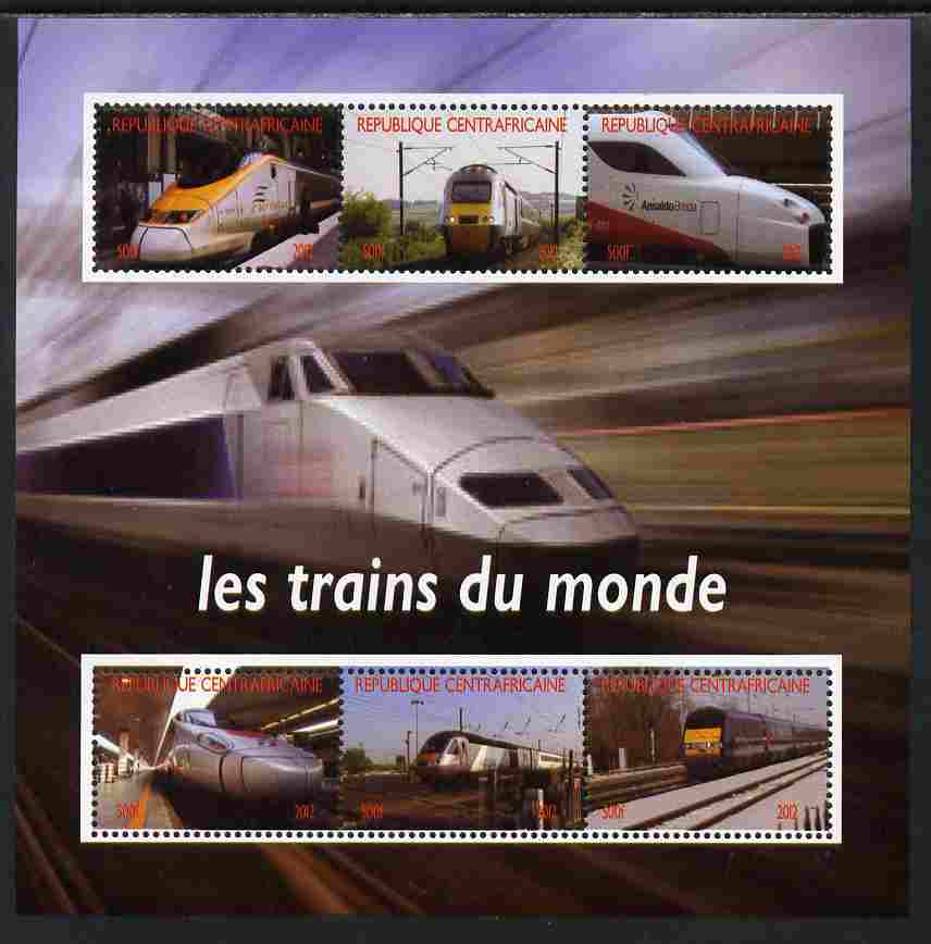 Central African Republic 2012 Trains of the World #1 perf sheetlet containing 6 values unmounted mint. Note this item is privately produced and is offered purely on its thematic appeal