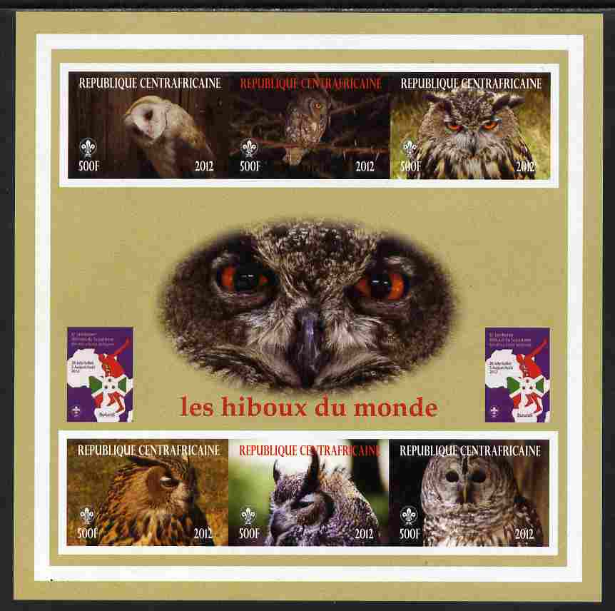 Central African Republic 2012 Owls of the World with Scouts Logo imperf sheetlet containing 6 values unmounted mint. Note this item is privately produced and is offered purely on its thematic appeal, it has no postal validity
