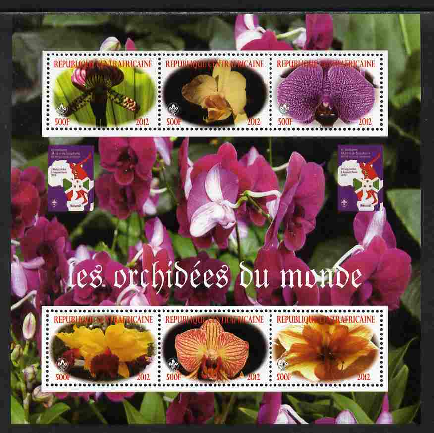 Central African Republic 2012 Orchids of the World perf sheetlet containing 6 values unmounted mint. Note this item is privately produced and is offered purely on its thematic appeal