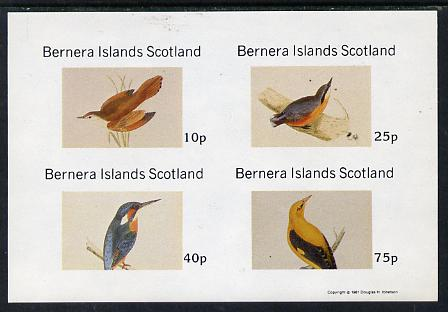 Bernera 1981 Birds #07 (Kingfisher, Nuthatch, etc) imperf  set of 4 values (10p to 75p) unmounted mint