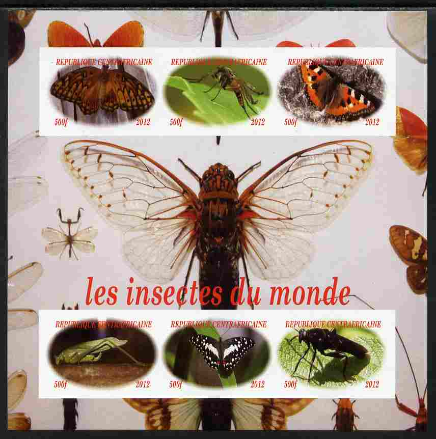 Central African Republic 2012 Insects of the World imperf sheetlet containing 6 values unmounted mint. Note this item is privately produced and is offered purely on its thematic appeal, it has no postal validity