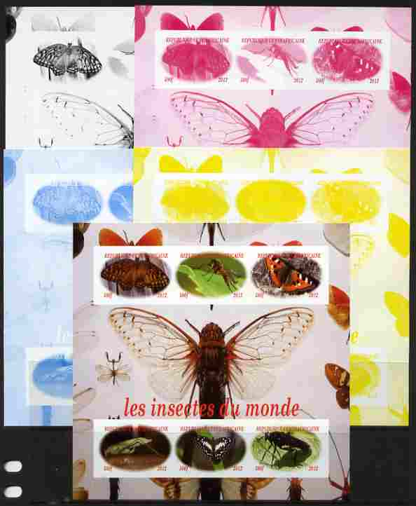 Central African Republic 2012 Insects of the World sheetlet containing 6 values - the set of 5 imperf progressive proofs comprising the 4 individual colours plus all 4-colour composite, unmounted mint