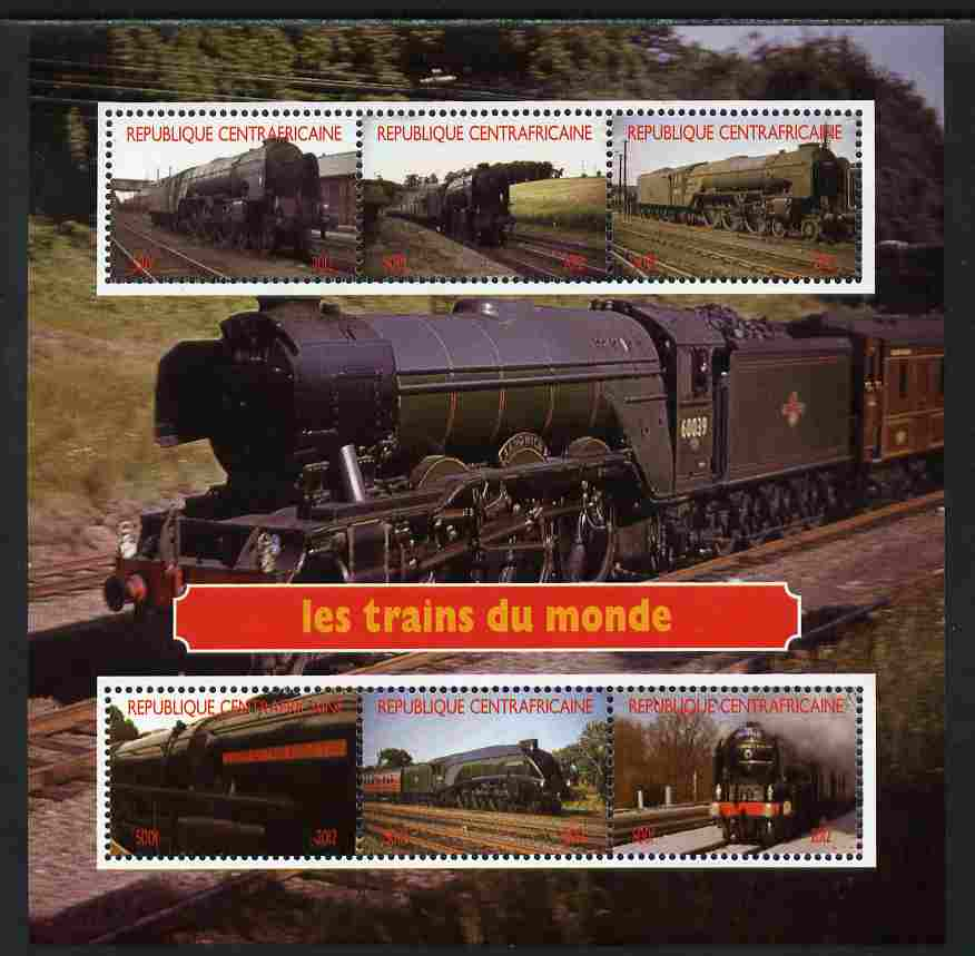 Central African Republic 2012 Trains of the World #2 perf sheetlet containing 6 values unmounted mint. Note this item is privately produced and is offered purely on its thematic appeal