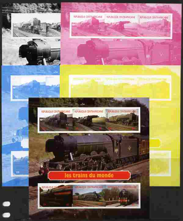 Central African Republic 2012 Trains of the World #2 sheetlet containing 6 values - the set of 5 imperf progressive proofs comprising the 4 individual colours plus all 4-colour composite, unmounted mint